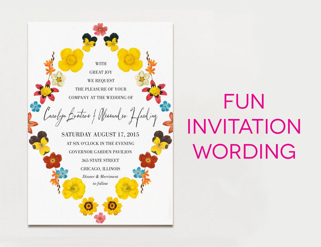 Wedding Invitation Wording Formal Modern Fun Wedding