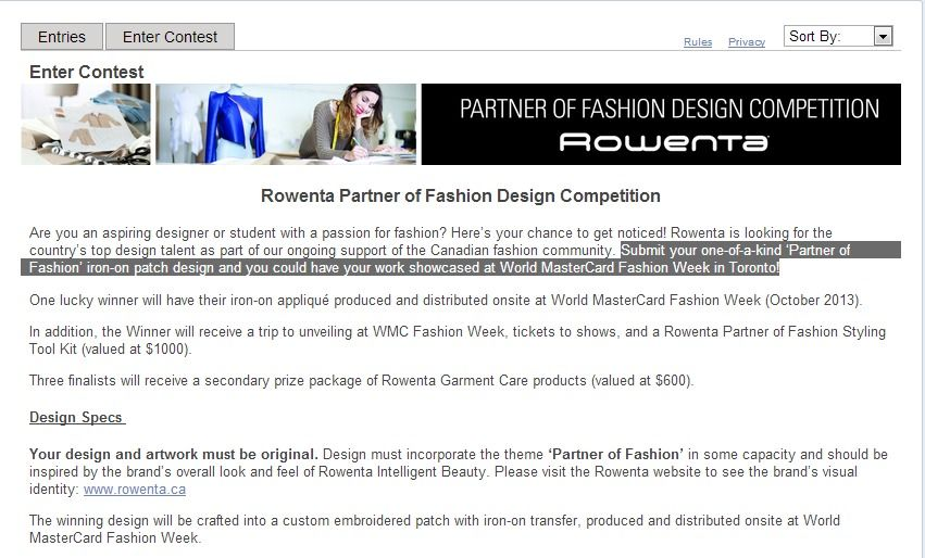 #Canadian #Fashion #Students Submit an iron-on patch design @ RowentaCanada & see ur work showcased at @ WMCfashionweek in Toronto - Bf.?, Free – Conditions Apply - Modeconnect.com for Fashion Students Worldwide