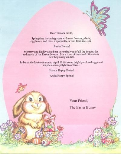 Personalized letter from easter bunny easter pinterest for Letter to easter bunny template