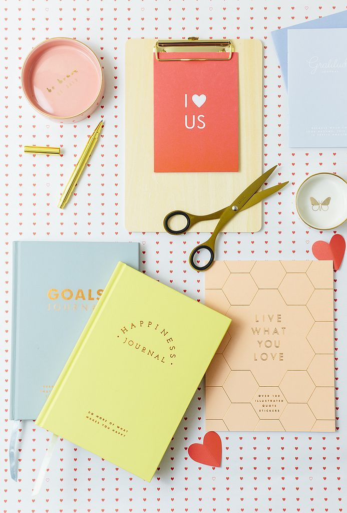 Ceramic dishes | Gold Pen | Clipboard | Goals Journal | Happiness Journal | Sticker Book Because nothing says love like a new notebook, right? Now, if you know me (or, hey, even if you don't)- you m