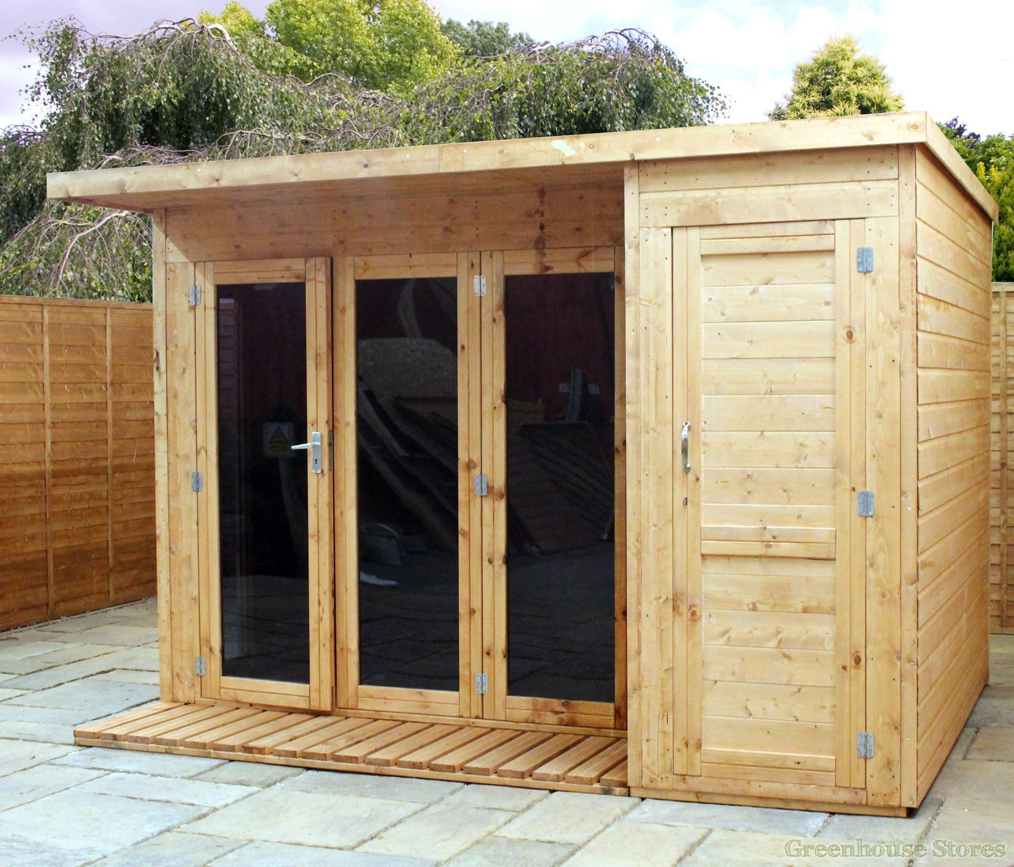 Garden Sheds 10 X 8 cotswold 10x8 modern garden room with side shed | gardens, a well
