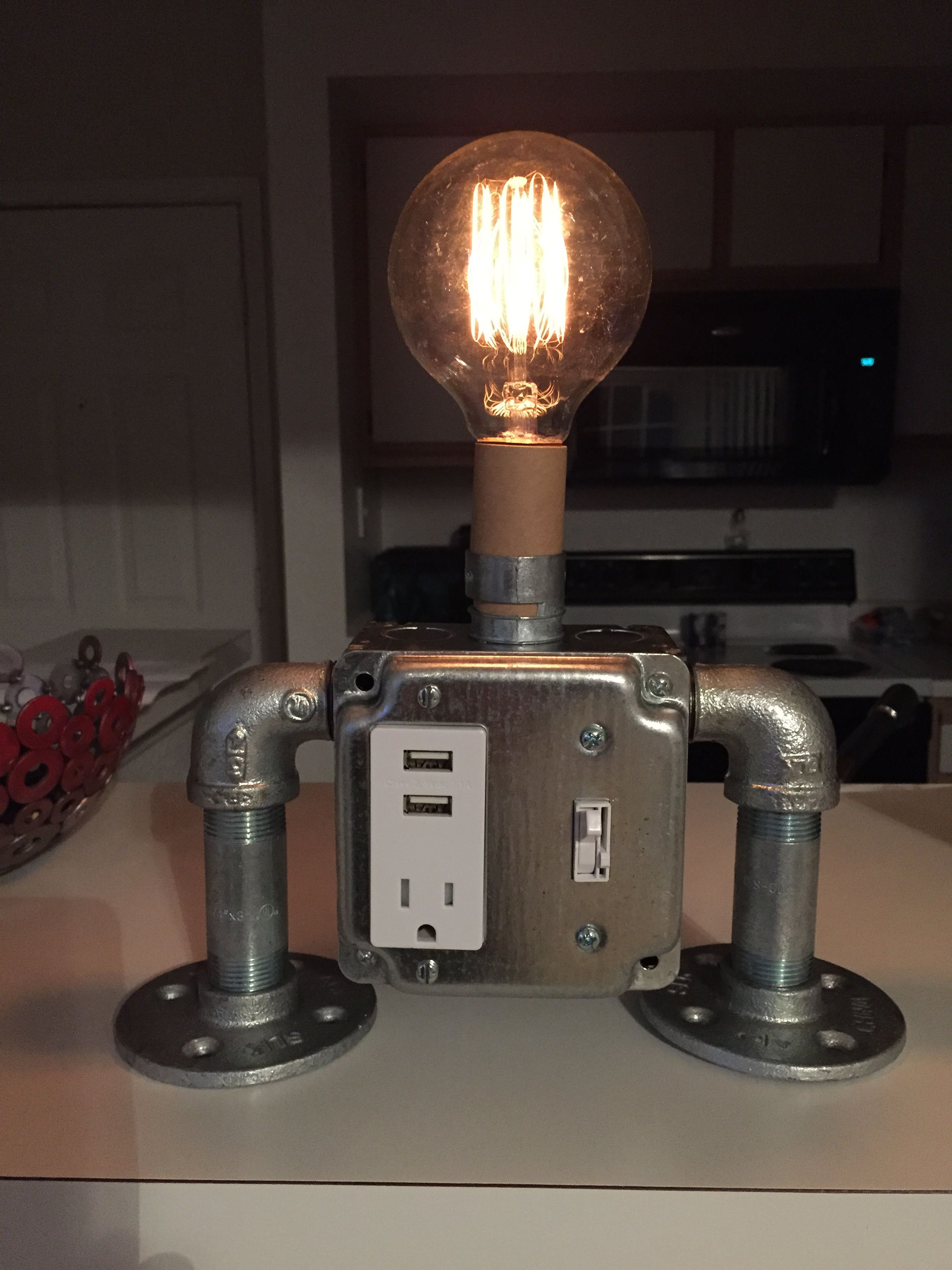 Industrial Nightstand Light Features A Dimmable Edison Bulb 2 Usb