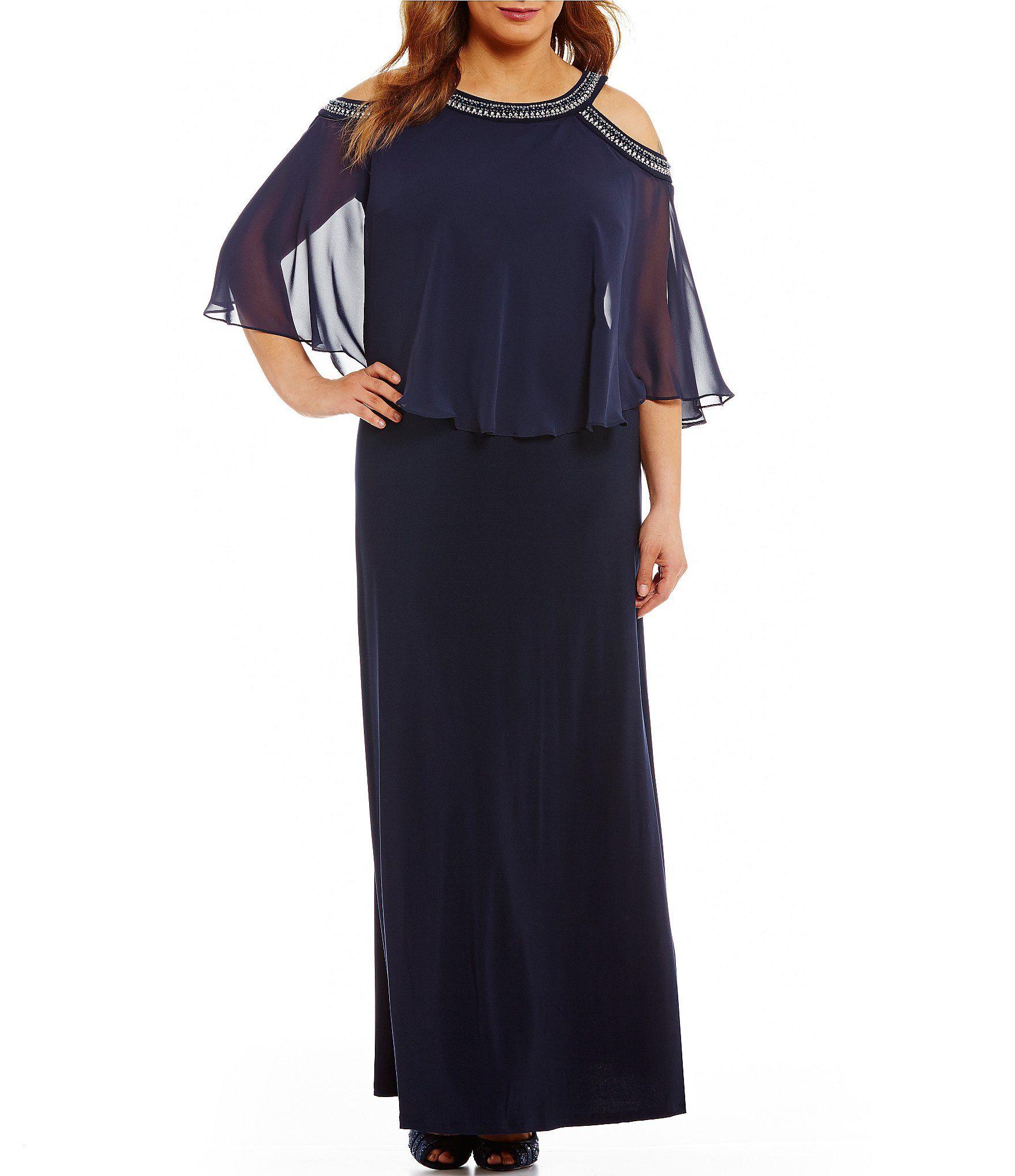 Alex Evenings Plus Size Cold Shoulder Popover Gown | Plus ...