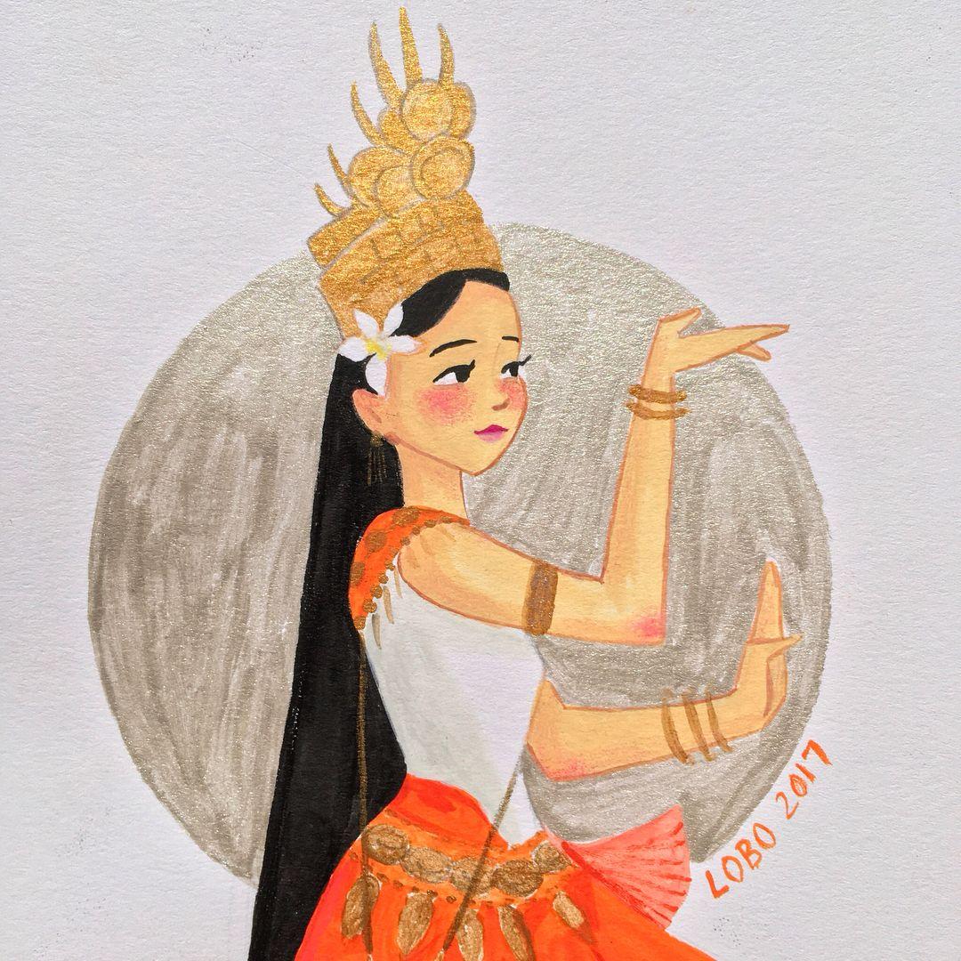 Cambodian apsara dancer. #gouache #watercolor #watercolour ...