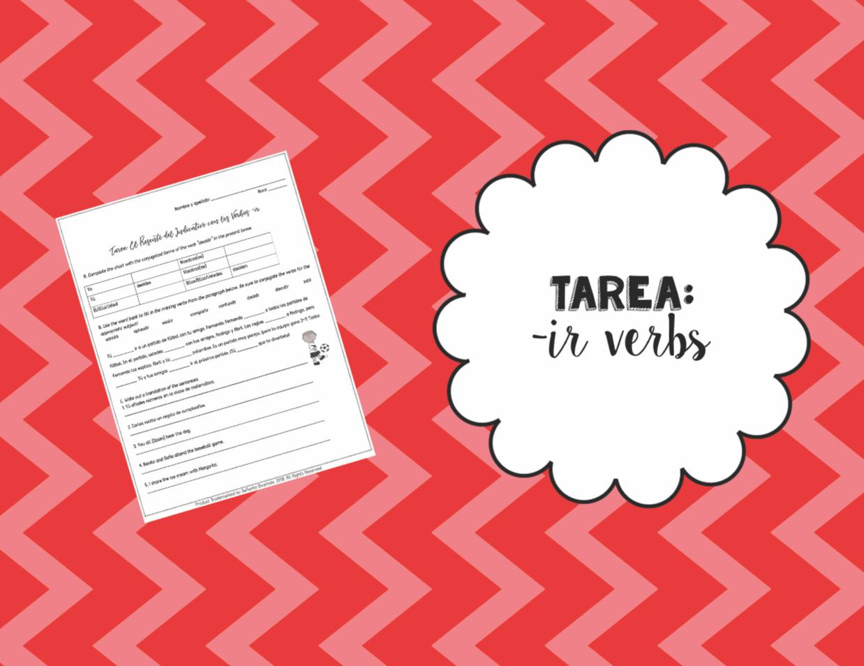 Present Tene Ir Verbs Worksheet