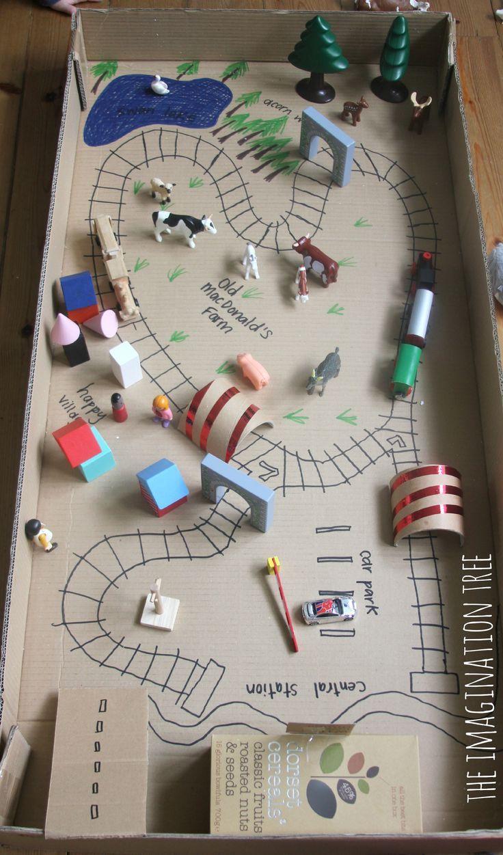 Train Tracks Small World in a Cardboard Box Crafts, Diy