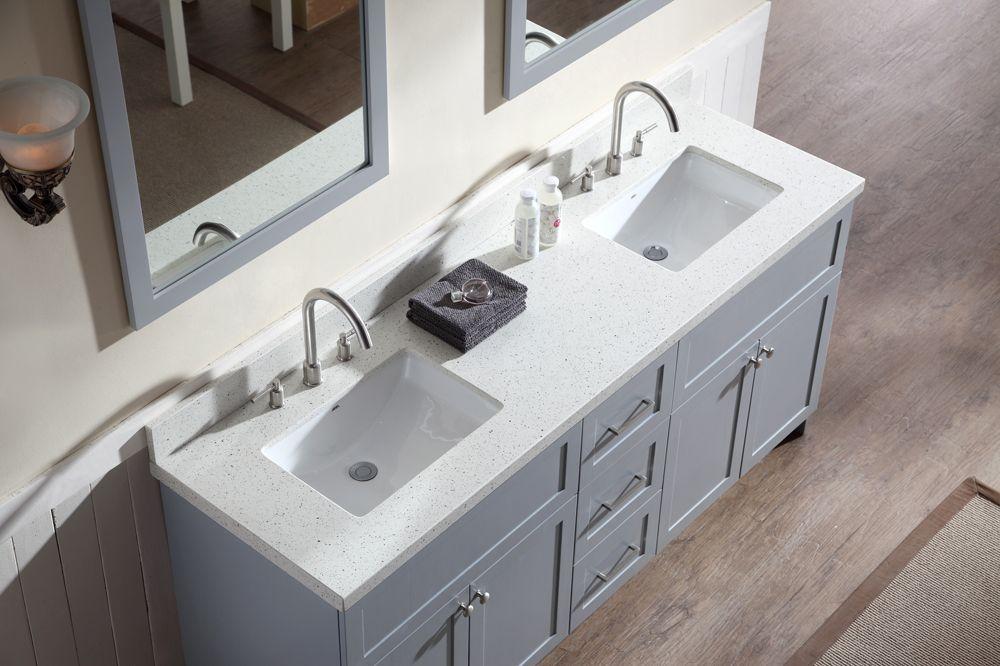 quartz double sink vanity top