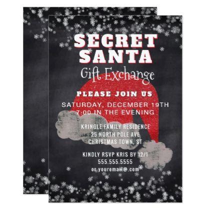 Secret Santa Gift Exchange Party Invitation - christmas cards merry