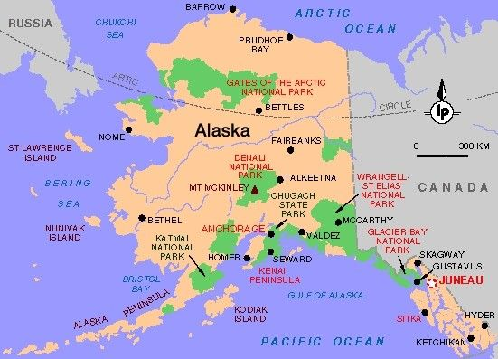 Physische Landkarte Von Alaska Usa Englischsprachig 2006