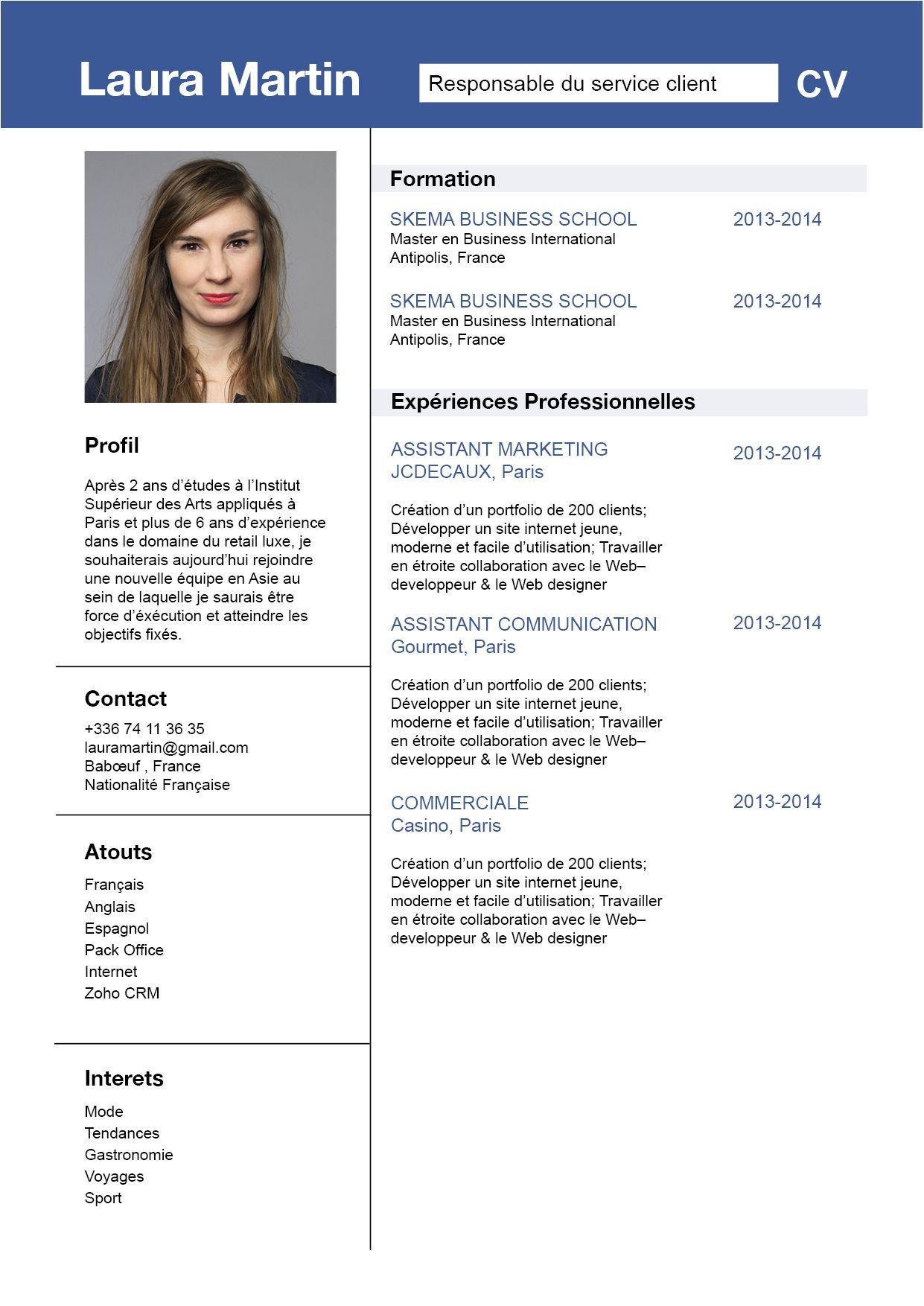 Civil Ce Cv Va Droit Au But Les Informations Sont Bien Mises En Valeur Job Hunting Visiting Cards Job