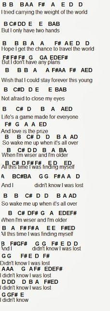 Flute Sheet Music Wake Me Up Flute Music Flute Sheet Music