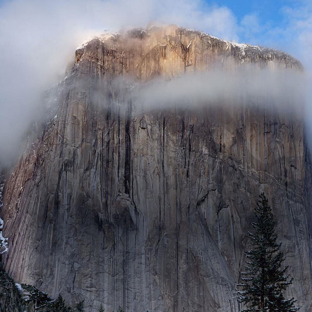 Cliff Fog Landscape iPad Wallpapers Yosemite wallpaper