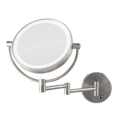 Zadro 12 In L X 9 In W Led Lighted Round Wall Mount Bi View 5x 1x Magnification Plugin Beauty Makeup Mirror In Satin Nickel Ledmw45 The Home Depot Mirror Design Wall Lighted