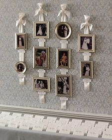 Gather pictures of the bride and groom as children, plus relatives' wedding portraits; arrange on ribbons with calligraphed labels. Hang by the seating-card table for all to see.