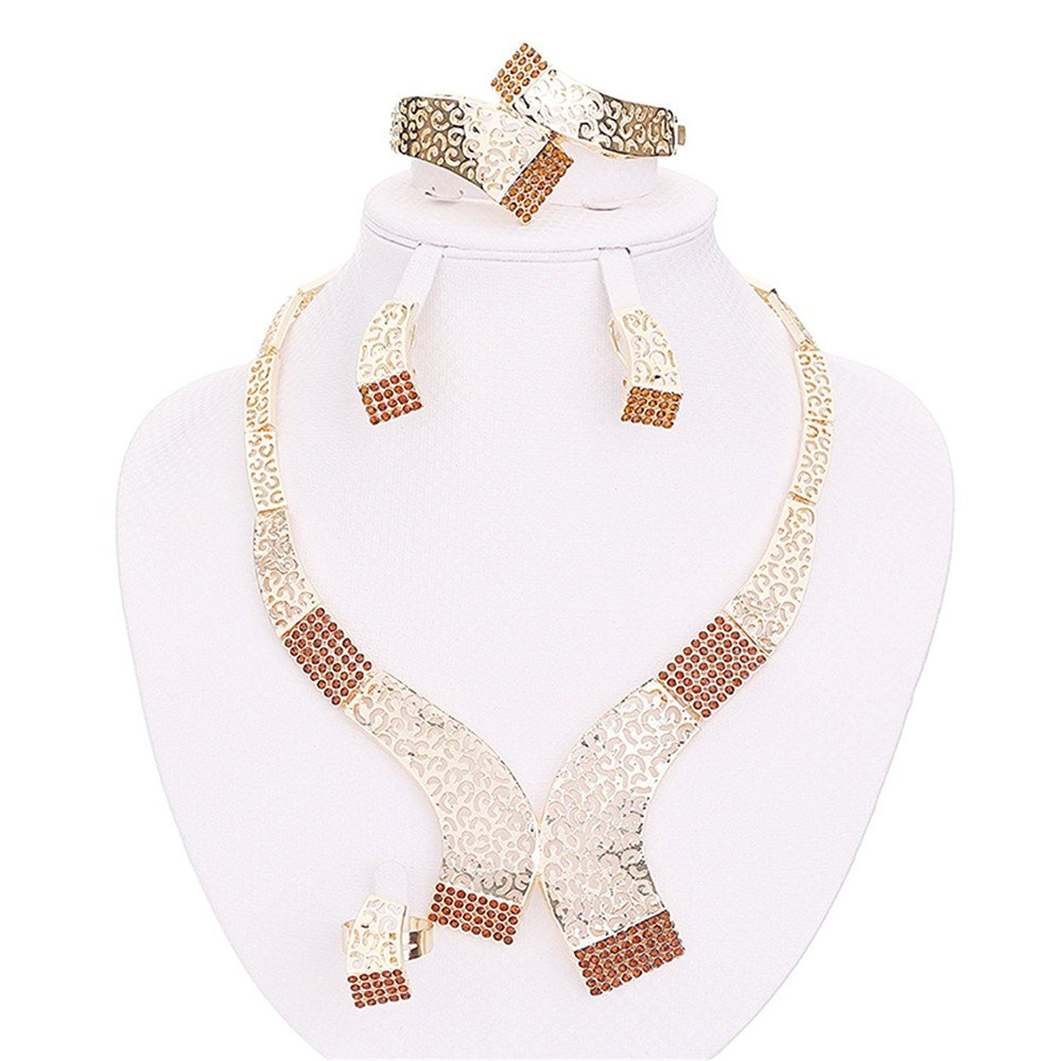 Moochi k gold plated coffee crystal golden necklace earrings ring