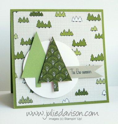 Stampin Up Tree Punch Card With Santa Co Designer Paper Stampinup Www Juliedavison Christmas Tree Cards Christmas Cards Handmade Christmas Cards To Make