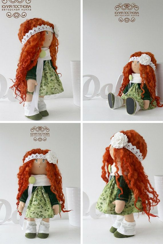 Love doll Tilda doll Art doll handmade green by AnnKirillartPlace