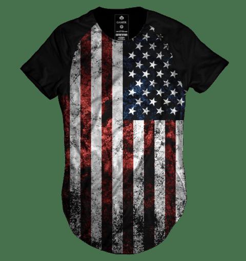 30bcd82dd0 Camiseta long line Raglan oversized baseball bandeira estados unidos ...