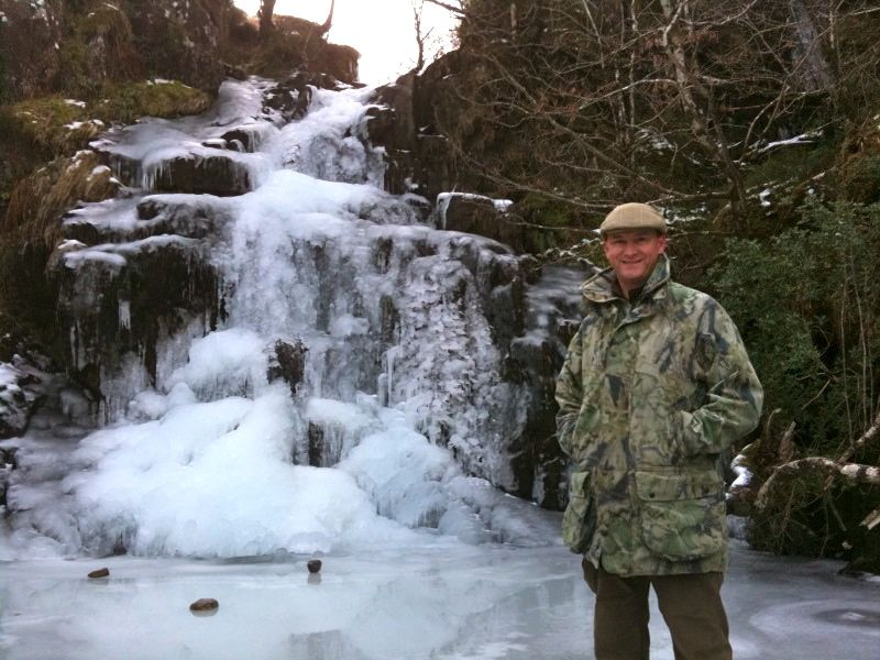 The Scottish Countryman at an iced-over waterfall in Morvern