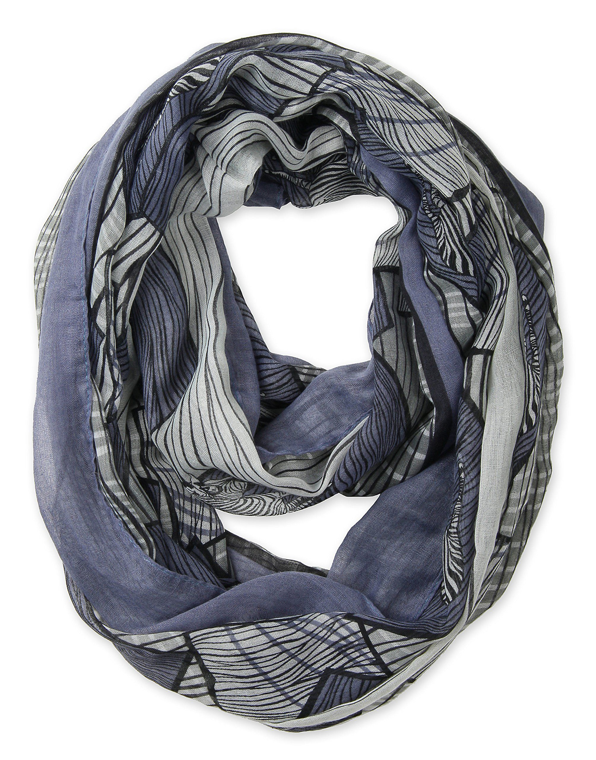 scarf circle grey infinity loop scarves tube blue gray pin