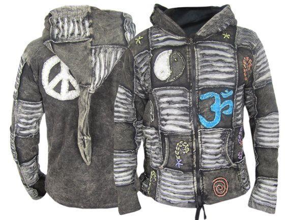 Men's Jacket Ribs Psychedelic Gothic Om Fleece lined