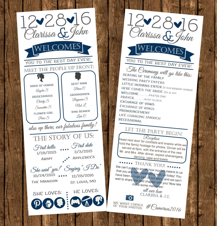 Printed Infographic Wedding Programs Printed Programs Fun Wedding
