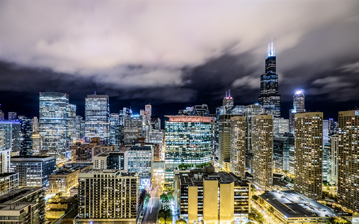 Download wallpapers USA, Chicago, 4k, nightscapes