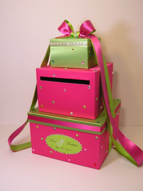 Wedding Card Box Hot Pinkshocking Pink And Lime Green Sweet 16