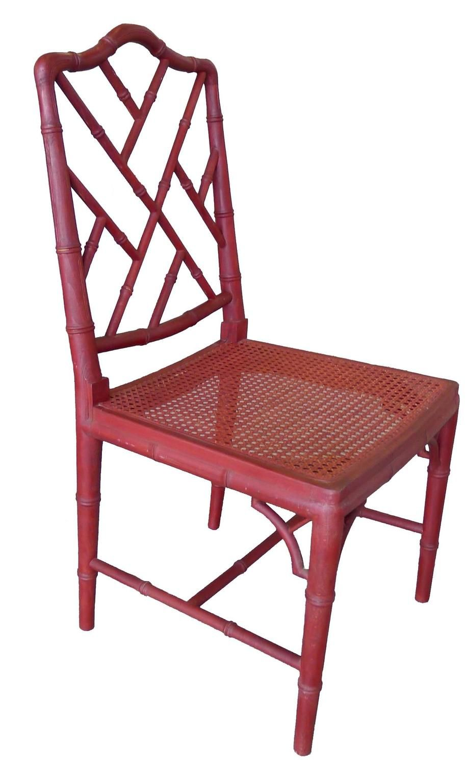 Custom modern chippendale wing chair by ethan allen at 1stdibs - 1960s Red Chinoiserie Bamboo Style Chair For Sale At 1stdibs