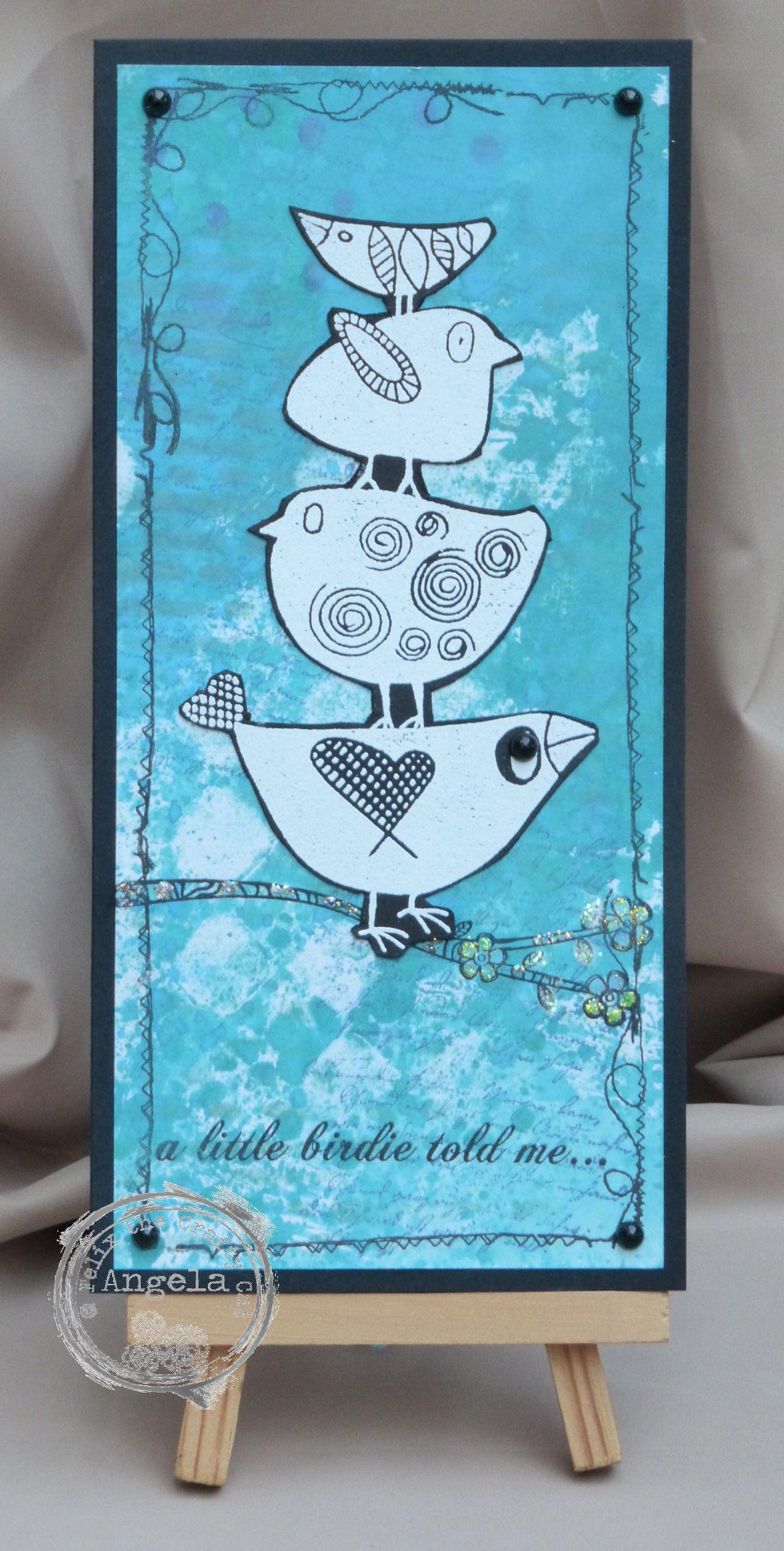 Bird stamps by darkroom door paper artsy mixed media