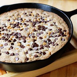 Coconut, butterscotch & chocolate chip skillet cookie