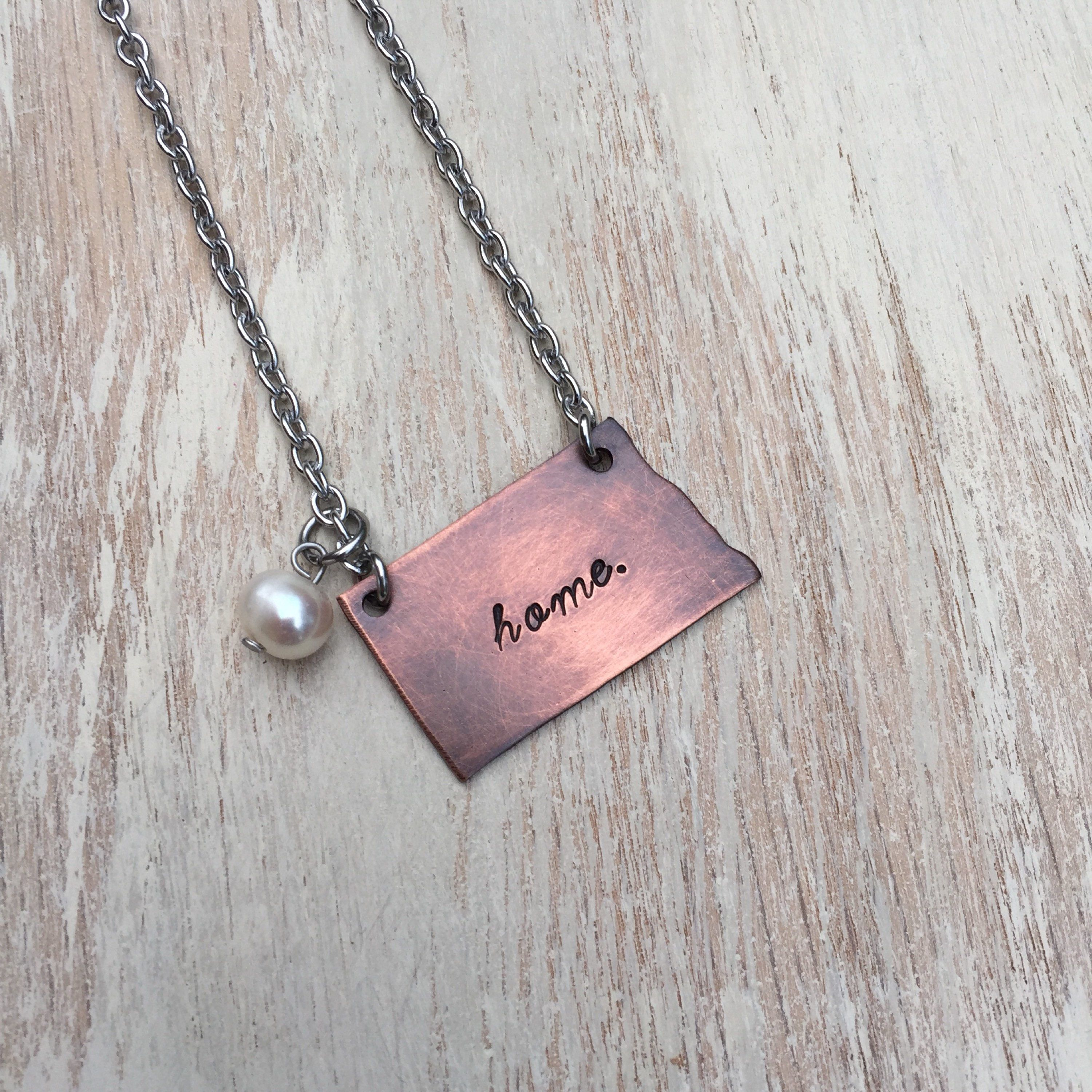 North Dakota State Necklace Hand Stamped Copper With Stainless