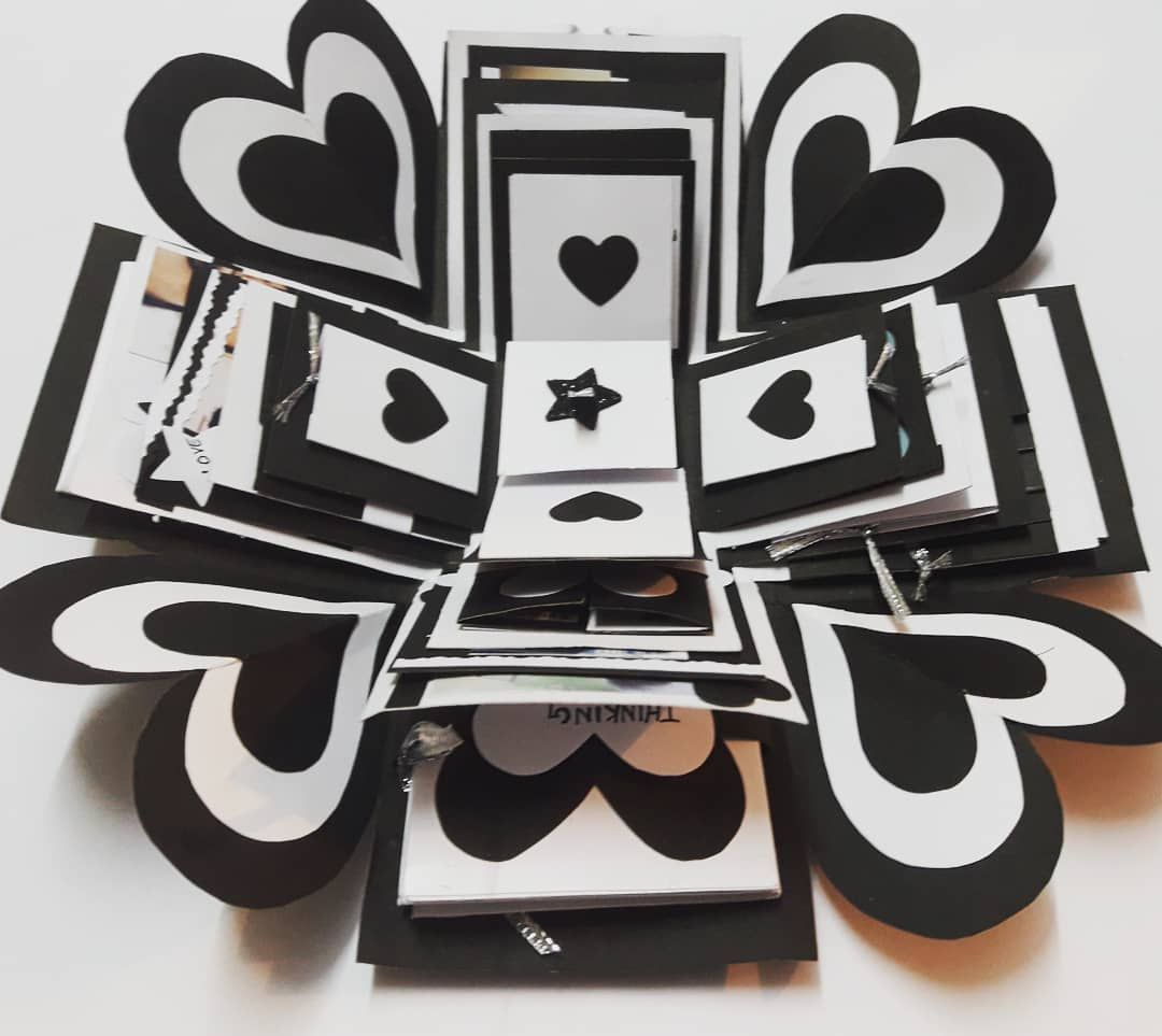 Explosion Box Size 10 10cm Sq When Closed 30 30cm Sq When Open Color Black And White Do You Want To Expl Explosion Box Black And White Handmade Gifts