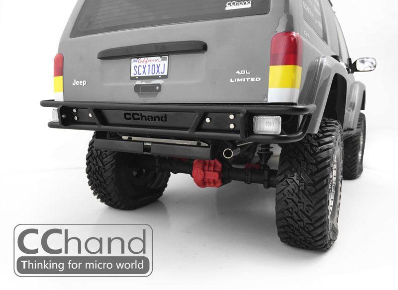 Tube Rear Bumper W Metal Exhaust For Axial Xj Cherokee Scx10 Ii