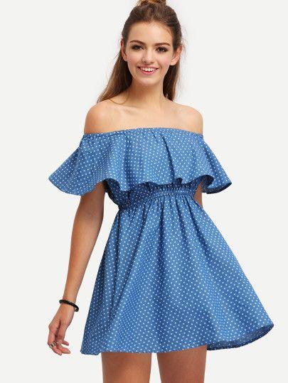 Plissiertes Kleid schulterfrei mit Rüschen -blau