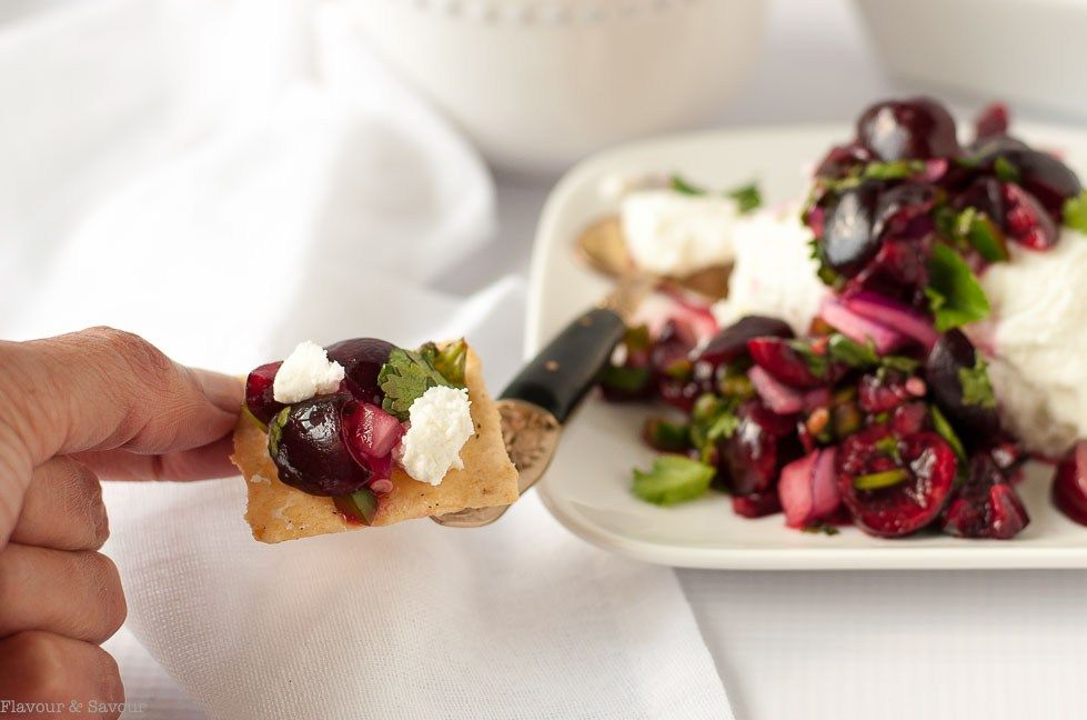 Fresh Cherry Salsa with goat cheese on crackers