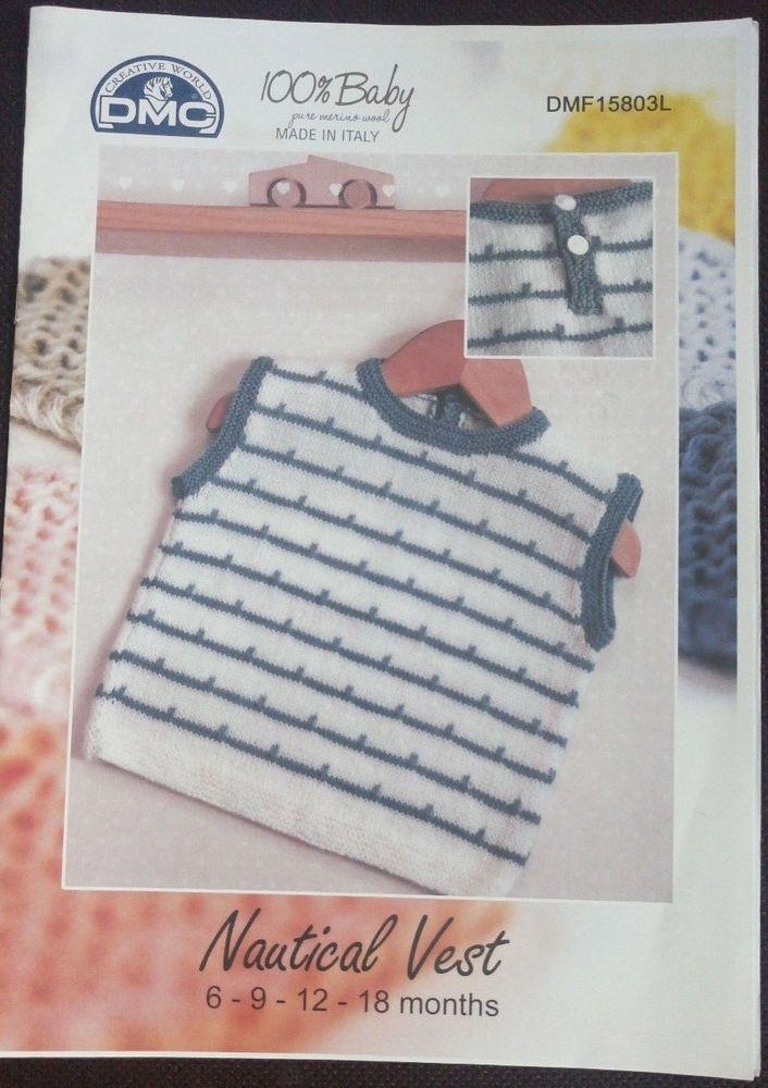 DMC Baby Nautical Vest knitting pattern 6-18 months #DMC