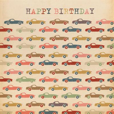 Retro Cars Happy Birthday Card