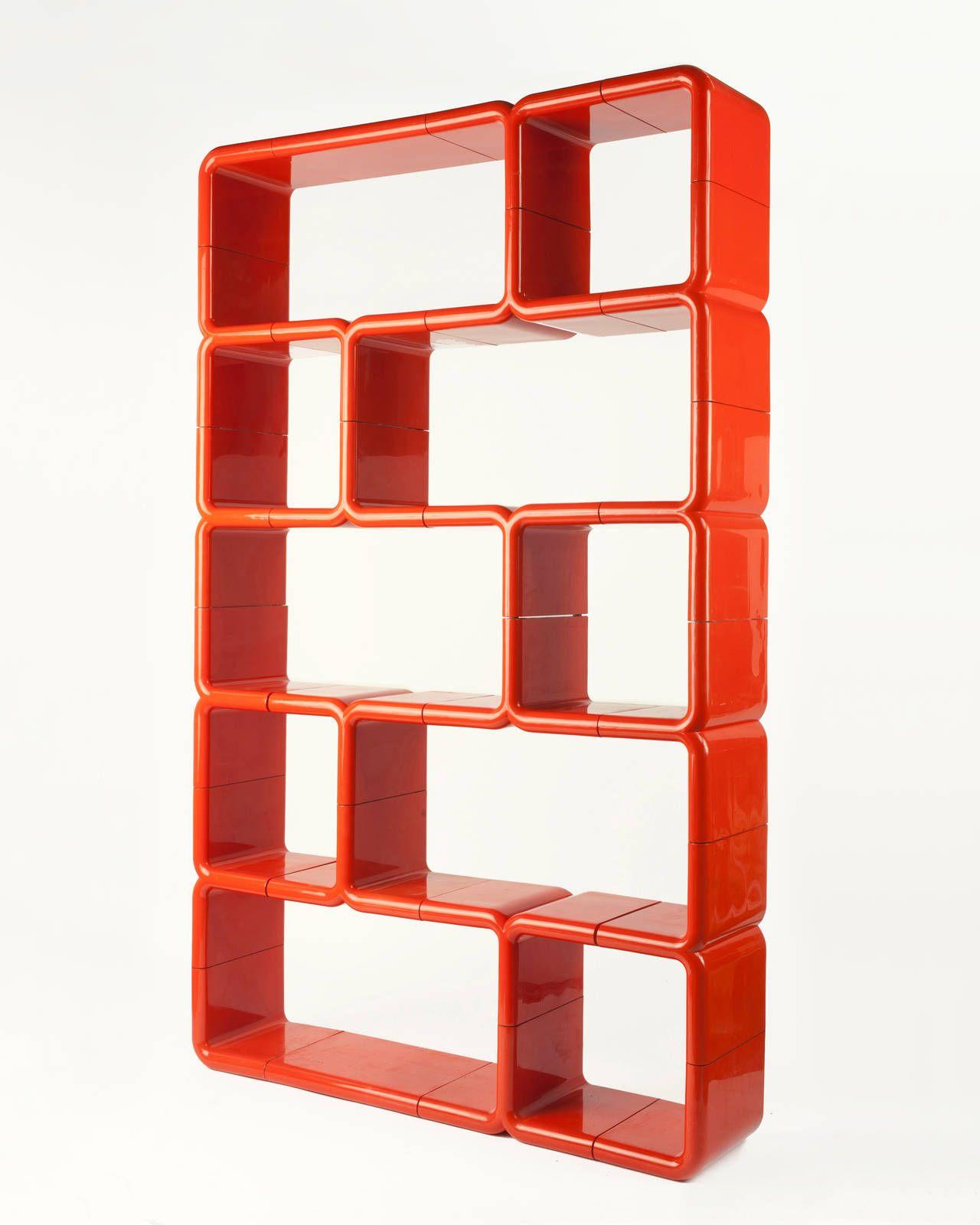 orange red modular plastic umbo bookshelf shelving pinterest