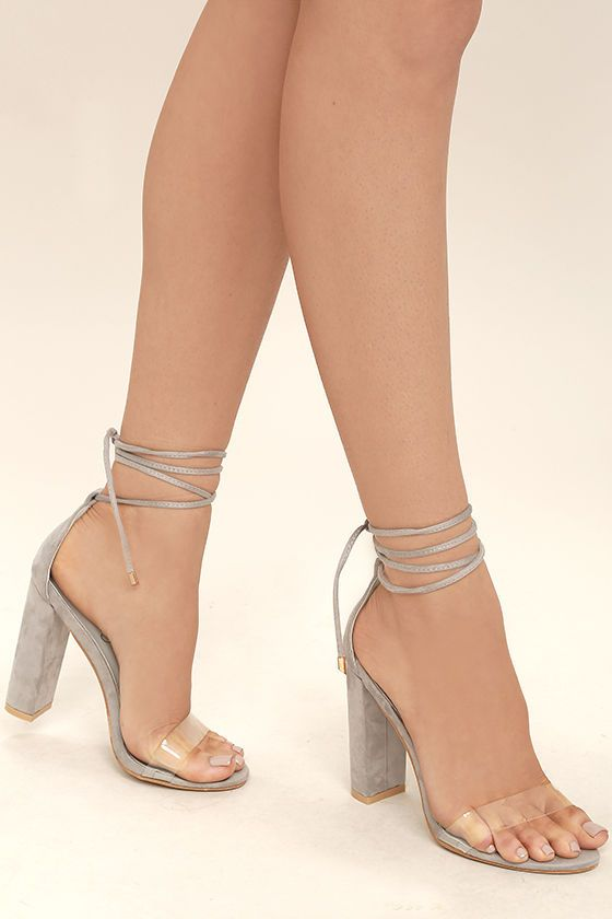 c1c3aef56a2 The Maricela Grey Suede Lace-Up Heels satisfy your craving for an elegant  look that s totally trend-worthy! Clear lucite forms a slender toe strap  while ...