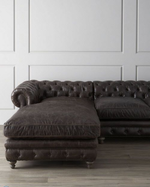 Leather Tufted Warner Sectional Sofa To me this is the perfect sofa especially if : tufted leather sectional - Sectionals, Sofas & Couches