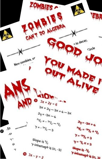 Slope-Intercept Equations and Graphs: Zombies Can\'t Do Algebra ...