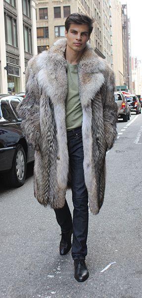 men s coyote fur coat 2302 fur pinterest fourrure homme fourrure et v tements homme. Black Bedroom Furniture Sets. Home Design Ideas