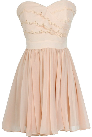 Love Song Tiered Lasercut Strapless Chiffon Designer Dress in Blush
