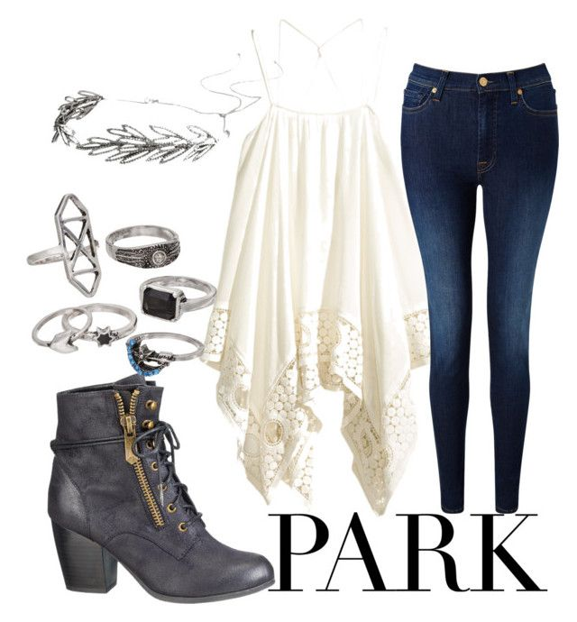 """A Day At The Park"" by good-girls-are-bad-girls-5sos ❤ liked on Polyvore featuring H&M, 7 For All Mankind, Jennifer Behr, maurices and Mudd"