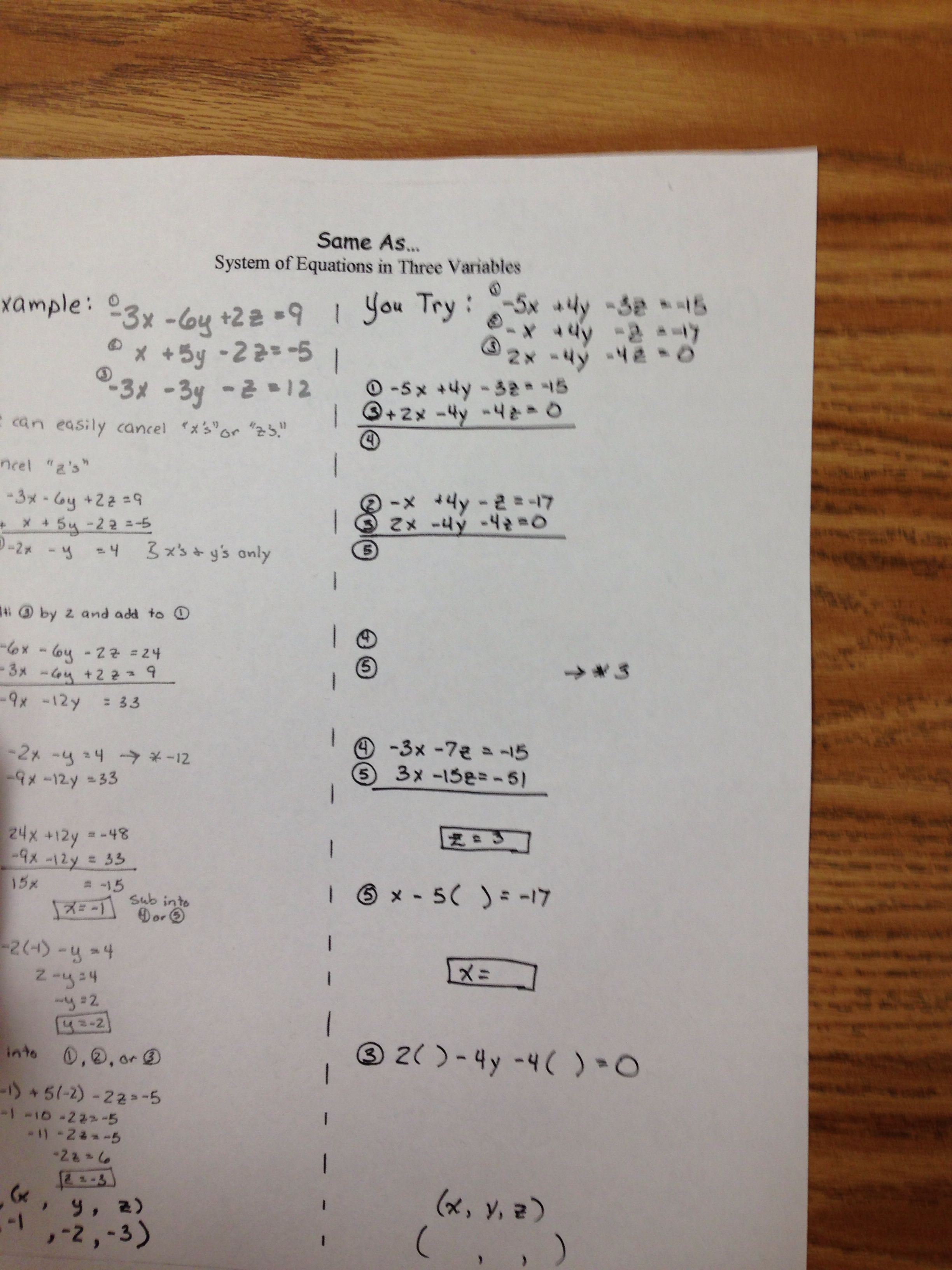 2 of 3 systems High school math, Systems of equations