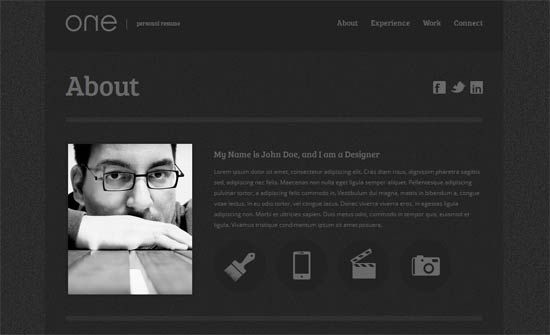 One Personal Resume Template Website Templates Pinterest - resume website template