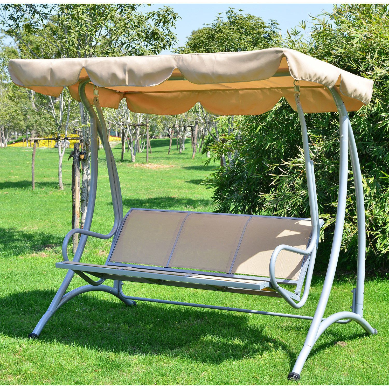 Person outdoor patio heavy duty canopy swing beige Качели