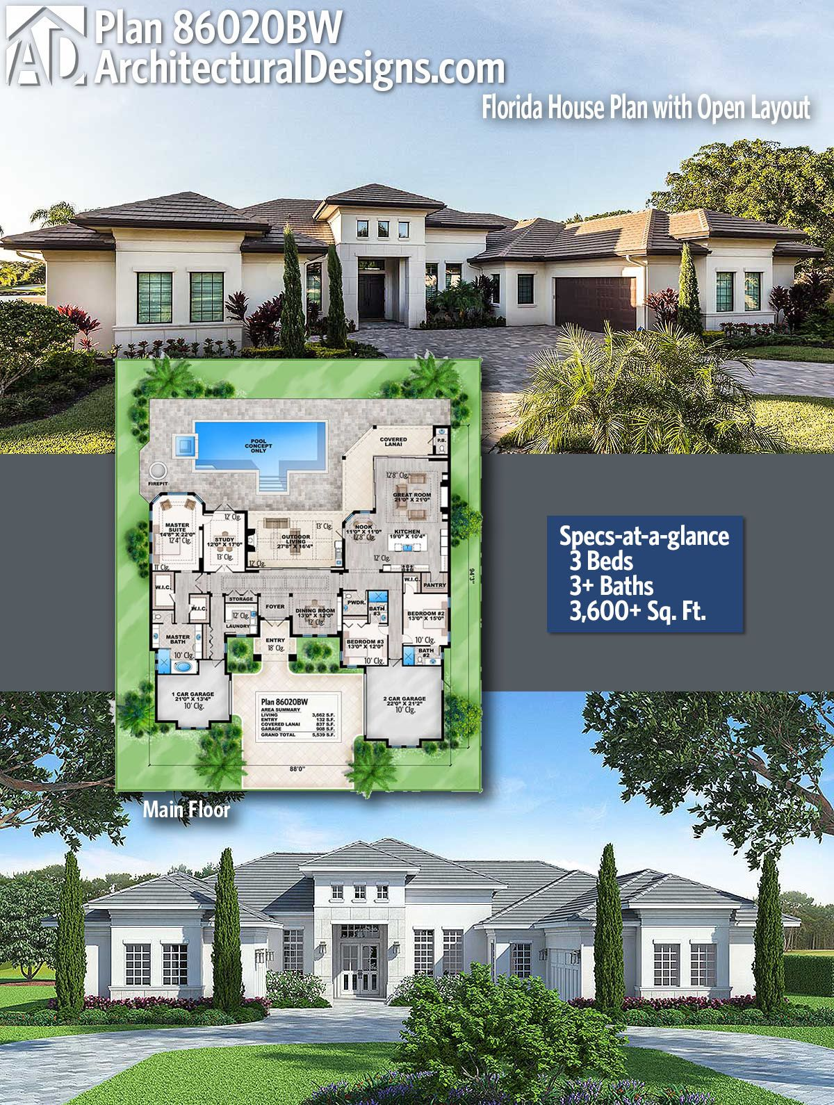 Plan 86020bw Florida House Plan With Open Layout Florida House Plans Architectural Design House Plans Modern House Plans