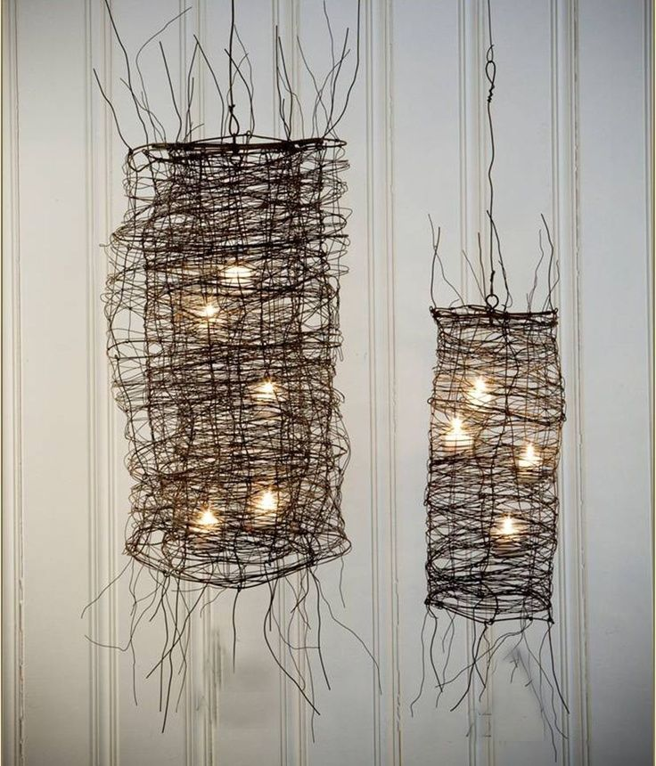 Wire Mesh Chandelier (take off scraggly wire- fill with string ...